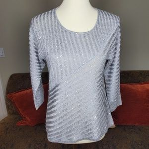 Chico's Grey Sparkle Sweater Size Small